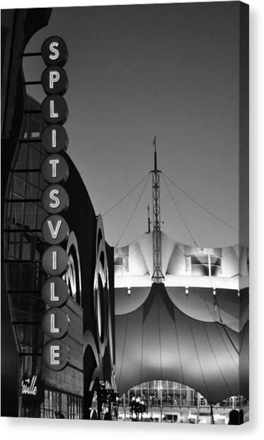 Bowling Alley Canvas Print - splitsville neon BW by Laura Fasulo