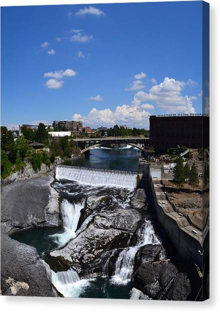 Spokane Falls And Riverfront Canvas Print