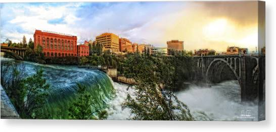 Spokane Falls City Skyline Canvas Print by Dan Quam