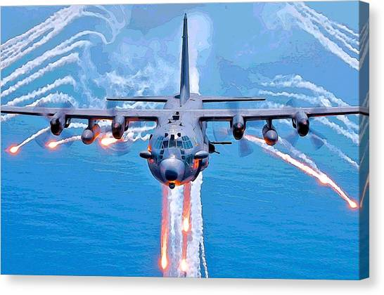 Spooky Gunship In Action Canvas Print