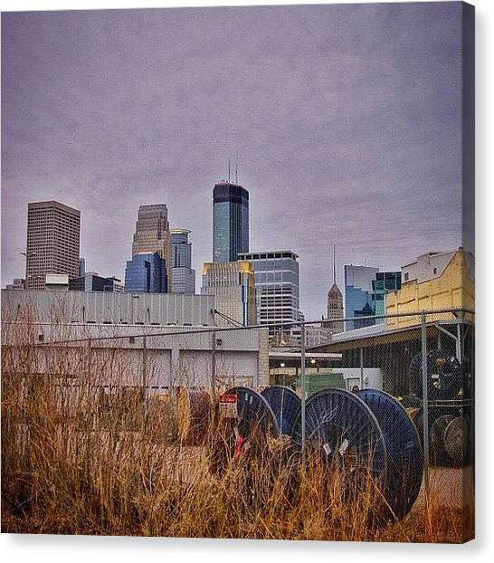 Warehouses Canvas Print - #spools Behind A #warehouse Near by Mike S
