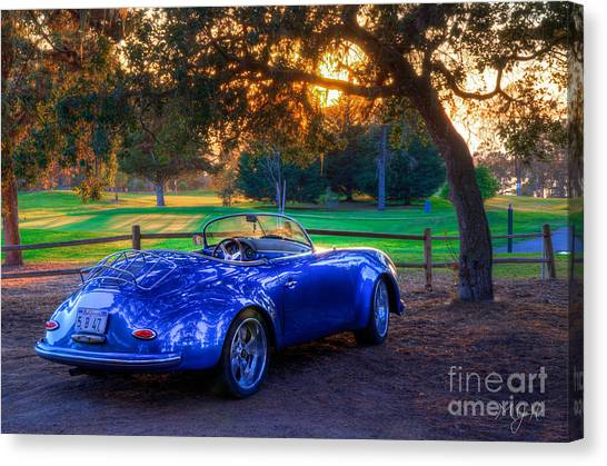 Sports Car Golf Course Sunset Canvas Print