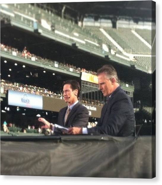 Seattle Mariners Canvas Print - Sportscasters Getting Ready To Go On by Monica Hart