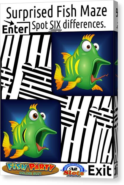 Fish Maze Canvas Print - Spot The Six Differences The Surprised Fish Maze by Yanito Freminoshi