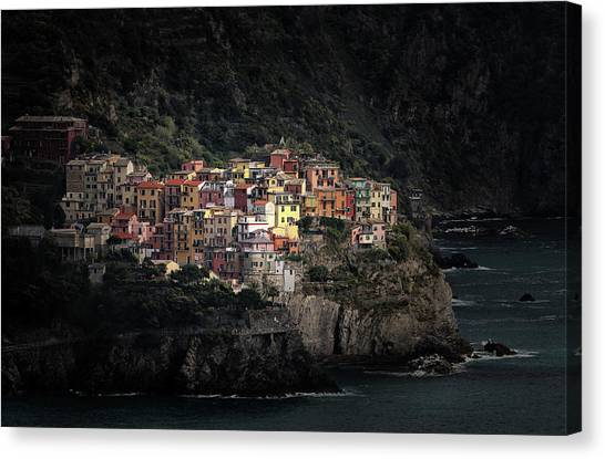 Ocean Cliffs Canvas Print - Spotlighted Manarola by Hans-wolfgang Hawerkamp
