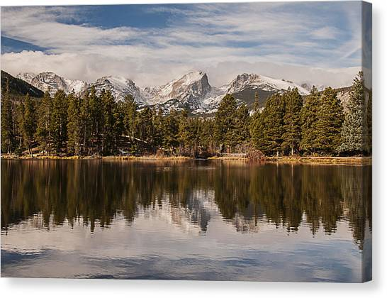 Sprague Lake Reflection In The Morning Canvas Print