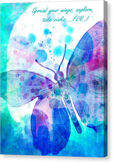 Digital Watercolor Canvas Print - Spread Your Wings by Robin Mead