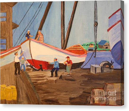 Spring At The Harbor - Tysver's Wharf 1935 Canvas Print