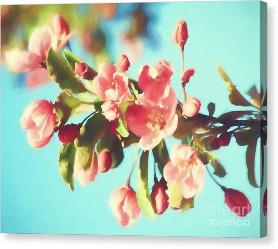 Spring Blossoms In Digital Watercolor Canvas Print