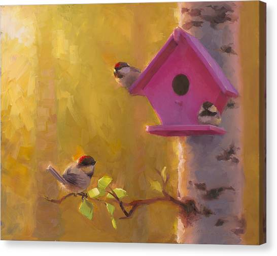 Chickadees Canvas Print - Spring Chickadees 1 - Birdhouse And Birch Forest by Karen Whitworth
