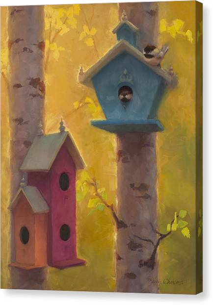 Chickadees Canvas Print - Spring Chickadees 2 - Birdhouse And Birch Forest by Karen Whitworth
