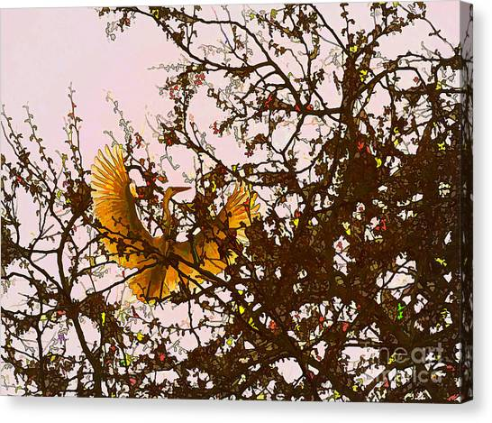 Canvas Print featuring the photograph Spring Flight by Melinda Hughes-Berland