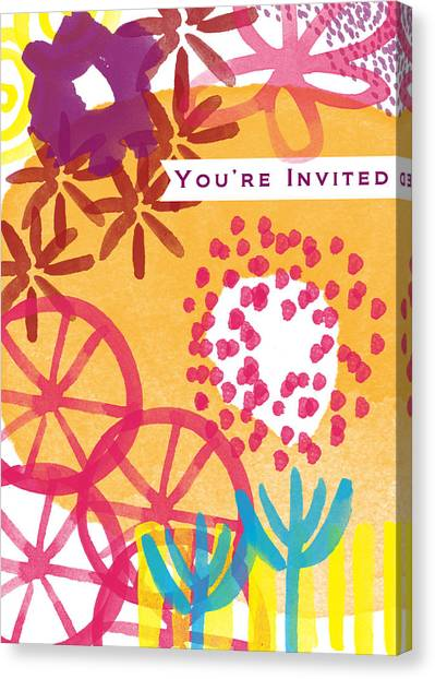 Graduation Canvas Print - Spring Floral Invitation- Greeting Card by Linda Woods