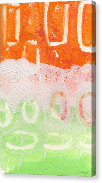 Magenta Canvas Print - Spring Flower Market- Abstract Painting by Linda Woods