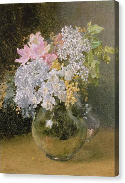 Mimosa Canvas Print - Spring Flowers In A Vase by Maud Naftel
