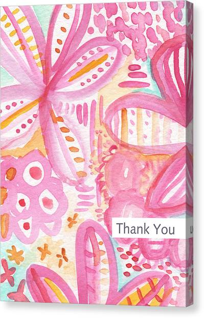 New Baby Canvas Print - Spring Flowers Thank You Card by Linda Woods