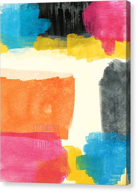 Abstract Designs Canvas Print - Spring Forward- Colorful Abstract Painting by Linda Woods