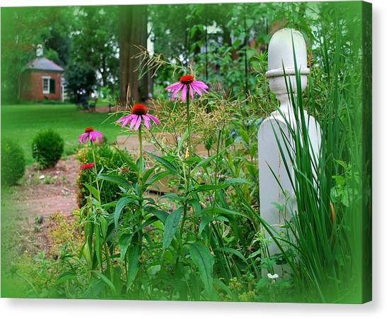 Smokehouses Canvas Print - Spring Garden At Wheatland by Mary Beth Landis