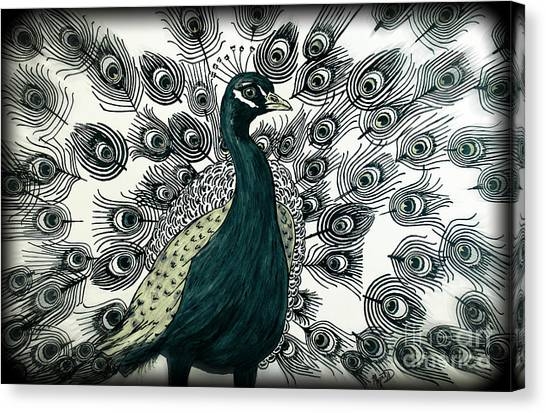 Spring Green Peacock Canvas Print