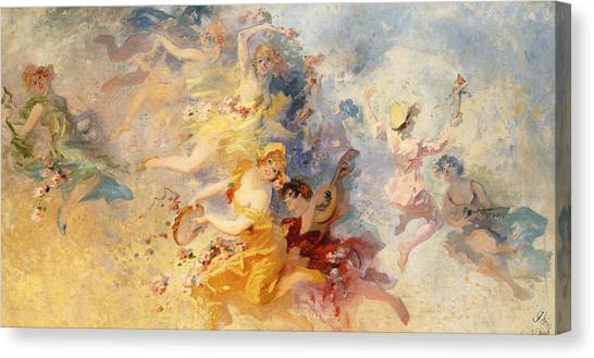 Tambourines Canvas Print - Spring by Jules Cheret