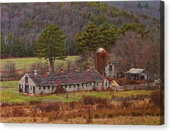 University Of Connecticut Canvas Print - Spring Manor Farm Ruins by Steve Pfaffle