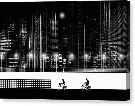 Metropolis Canvas Print - Spring Moon by Sol Marrades