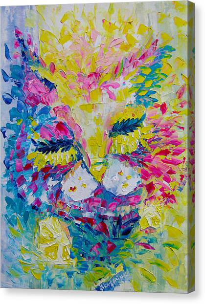Spring Pink Cat Canvas Print