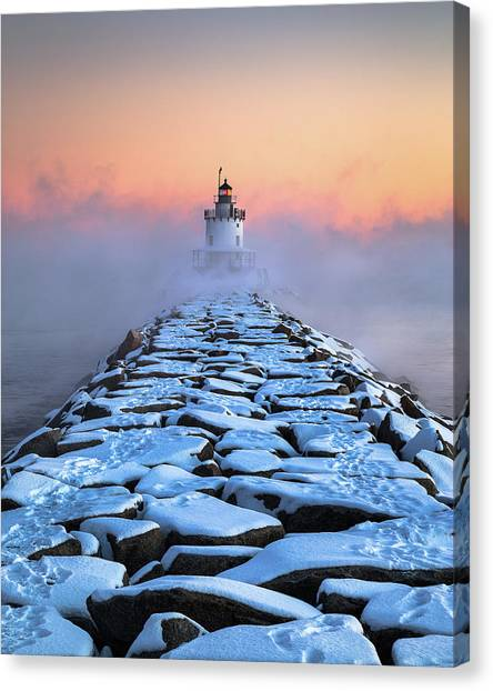 Maine Winter Canvas Print - Spring Point Sea Smoke by Benjamin Williamson