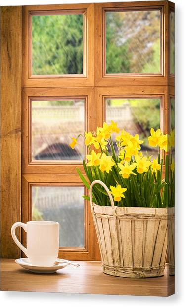 Window Canvas Print - Spring Showers by Amanda Elwell