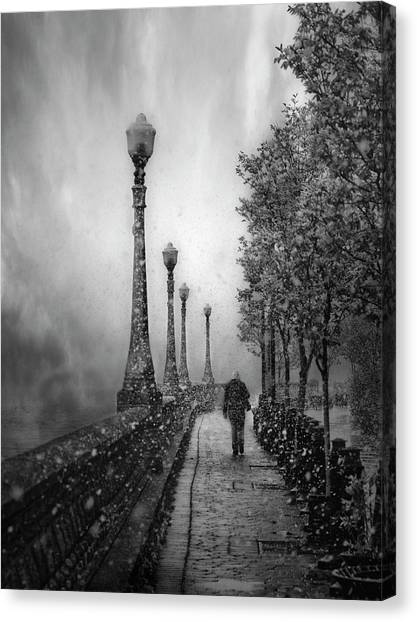 Street Lamp Canvas Print - Spring Snow by David Senechal Photographie