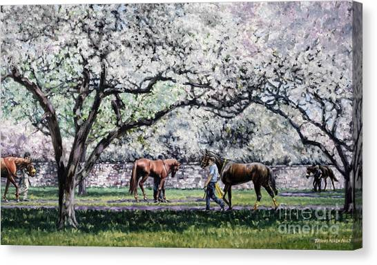 Thoroughbred Canvas Print - Springtime At Keeneland by Thomas Allen Pauly