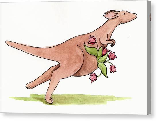Kangaroo Canvas Print - Springtime Kangaroo by Christy Beckwith