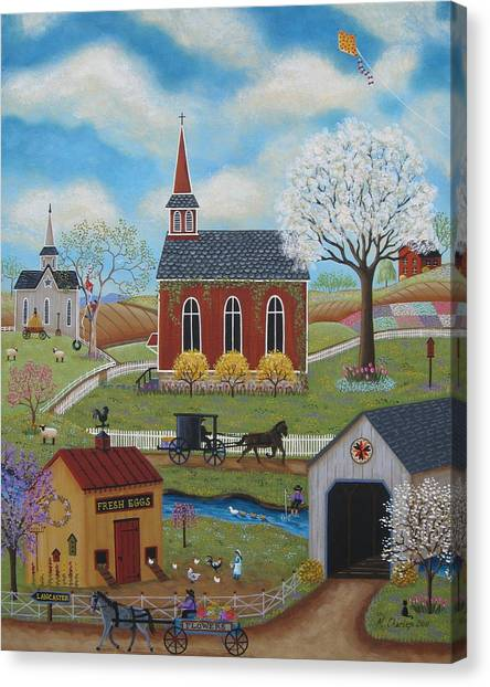 Amish Canvas Print - Springtime by Mary Charles