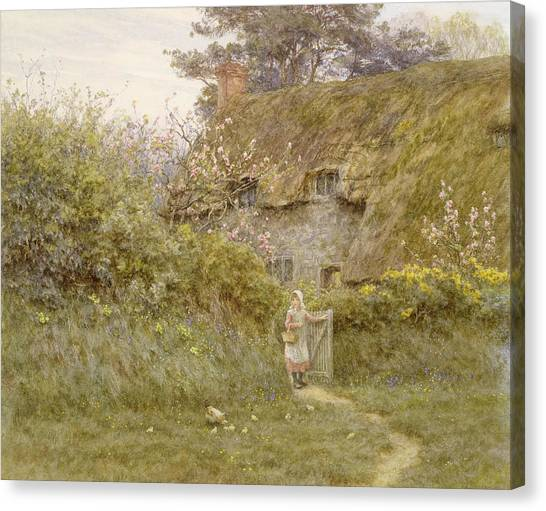 Pinafores Canvas Print - Springtime  by Helen Allingham