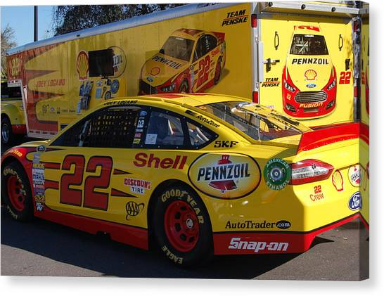 Joey Logano Canvas Print - Sprint Cup Series 22 by Christopher James