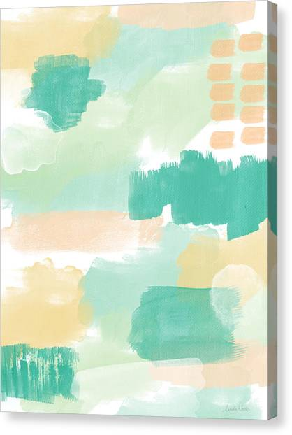 Soothing Canvas Print - Spumoni- Abstract Painting by Linda Woods