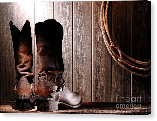 Spurs Canvas Print - Spurs On Cowboy Boots Heels by Olivier Le Queinec
