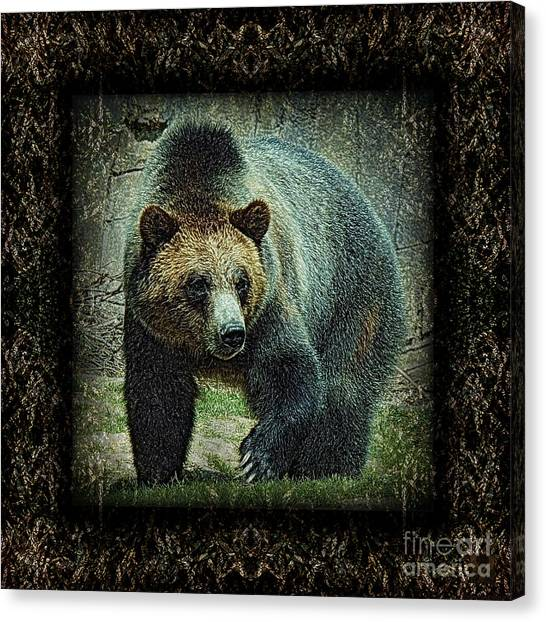 Memphis Grizzlies Canvas Print - Sq Grizz 6k X 6k Grn Gold Wd2 by Dale Crum