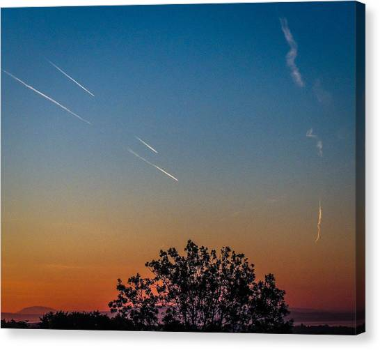 Squadron Of Jet Trails Over Ireland Canvas Print