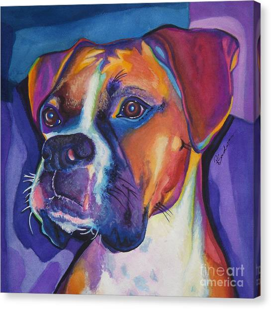 Square Boxer Portrait Canvas Print
