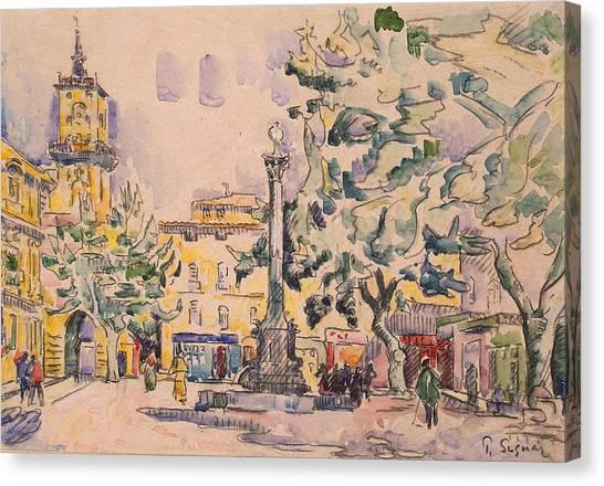 Signac Canvas Print - Square Of The Hotel De Ville by Paul Signac
