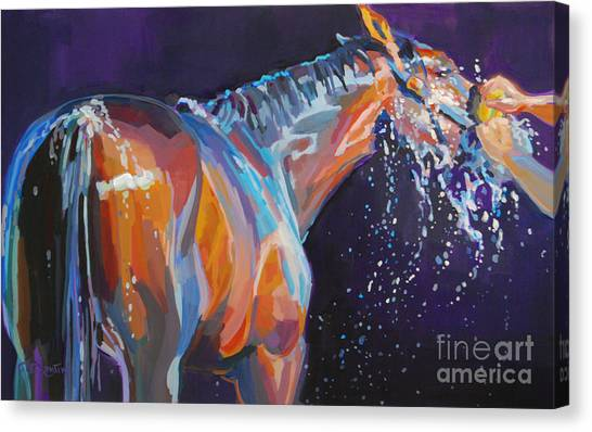 Thoroughbreds Canvas Print - Squeaky Clean by Kimberly Santini