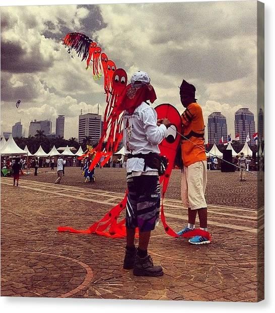 Squids Canvas Print - Squid Kites #kites #jakarta #monas by Dani Daniar