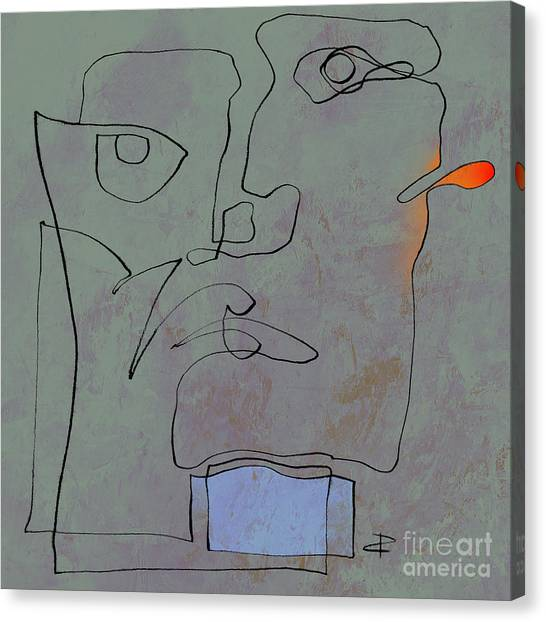 Squigglehead With Blue Scarf And Red Ear  Canvas Print