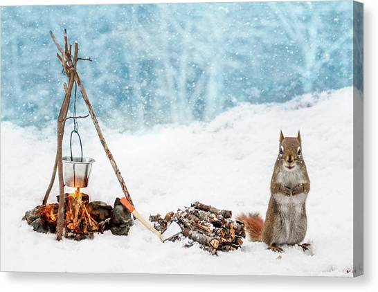 Squirrel And Campfire In The Snow Canvas Print