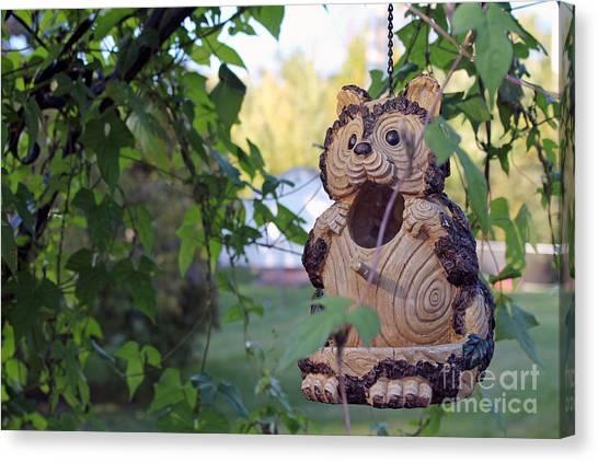 Squirrel Bird Feeder Canvas Print