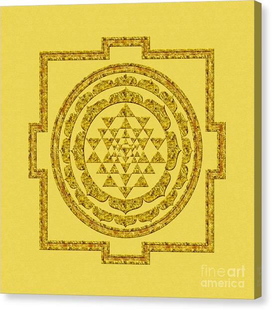 Sri Yantra In Gold Canvas Print
