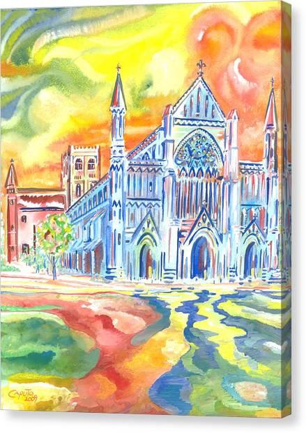 St Albans Abbey - Rainbow Celebration Canvas Print