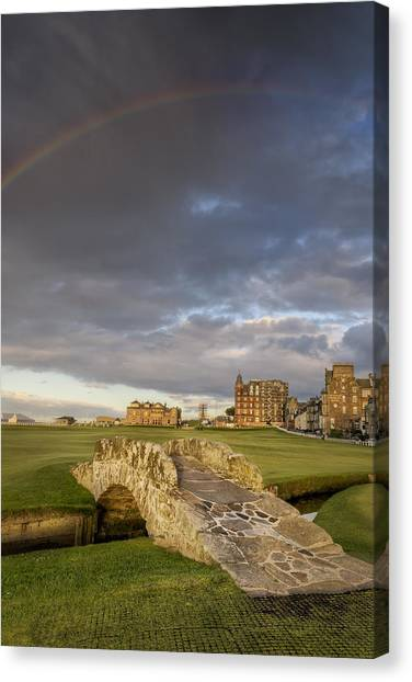 Hay Bales Canvas Print - St Andrews Bridge by Chris Frost