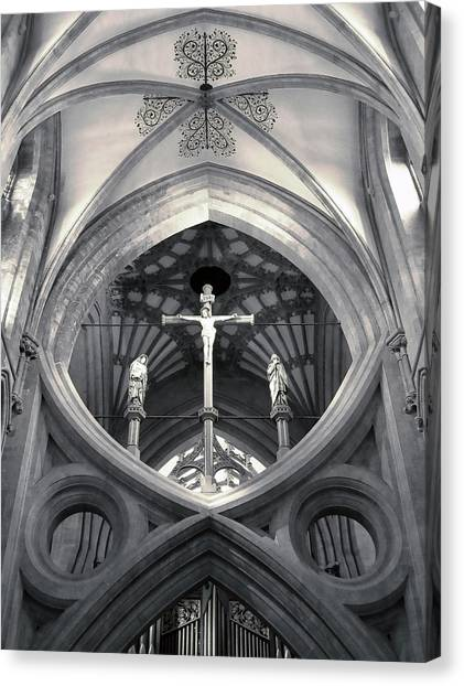 Canvas Print featuring the photograph St Andrews Cross Scissor Arches Of Wells Cathedral  by Menega Sabidussi